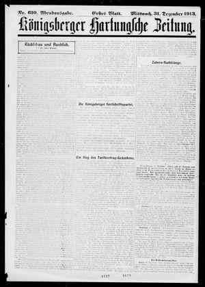Königsberger Hartungsche Zeitung vom 31.12.1913