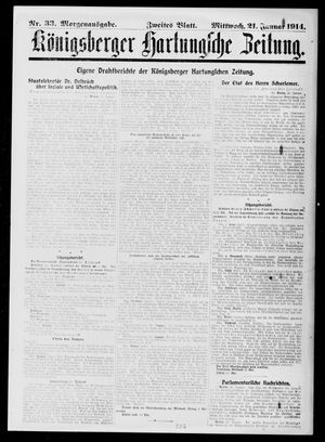 Königsberger Hartungsche Zeitung on Jan 21, 1914