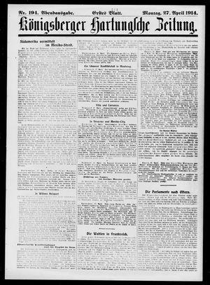Königsberger Hartungsche Zeitung vom 27.04.1914