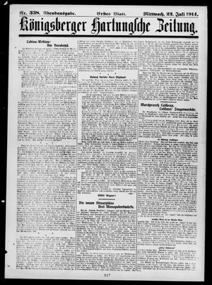 Königsberger Hartungsche Zeitung vom 22.07.1914