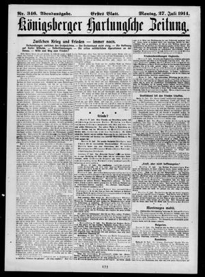 Königsberger Hartungsche Zeitung vom 27.07.1914