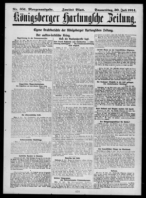Königsberger Hartungsche Zeitung vom 30.07.1914
