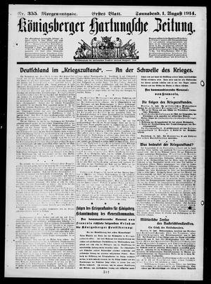 Königsberger Hartungsche Zeitung vom 01.08.1914