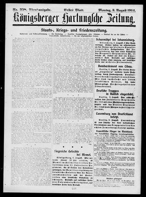 Königsberger Hartungsche Zeitung vom 03.08.1914