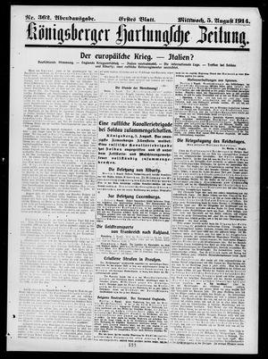 Königsberger Hartungsche Zeitung vom 05.08.1914