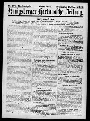 Königsberger Hartungsche Zeitung vom 13.08.1914