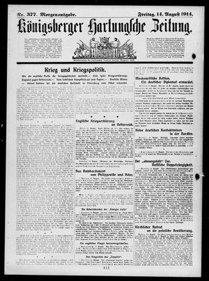 Königsberger Hartungsche Zeitung vom 14.08.1914