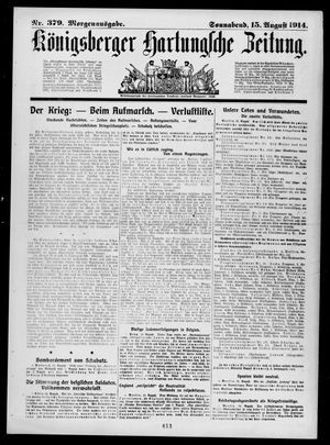Königsberger Hartungsche Zeitung vom 15.08.1914
