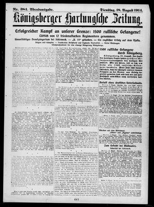 Königsberger Hartungsche Zeitung vom 18.08.1914