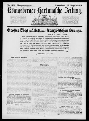 Königsberger Hartungsche Zeitung vom 22.08.1914