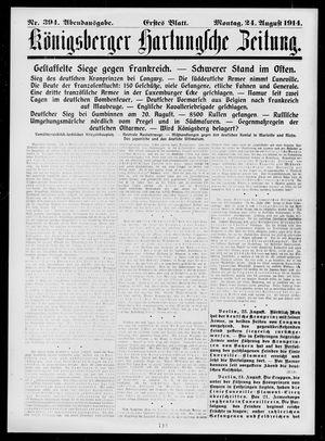 Königsberger Hartungsche Zeitung vom 24.08.1914
