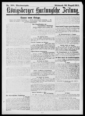 Königsberger Hartungsche Zeitung vom 26.08.1914