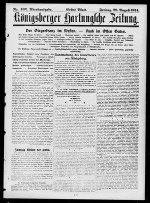 Königsberger Hartungsche Zeitung vom 28.08.1914