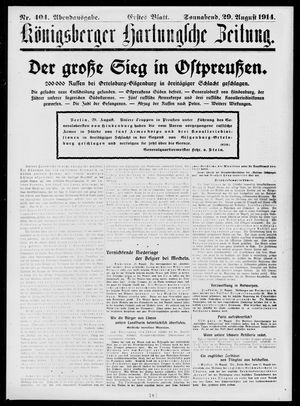 Königsberger Hartungsche Zeitung on Aug 29, 1914