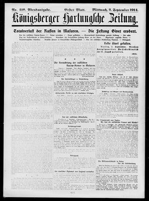 Königsberger Hartungsche Zeitung vom 02.09.1914