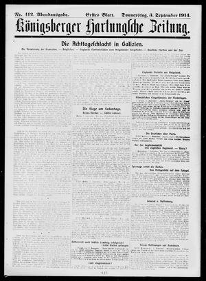 Königsberger Hartungsche Zeitung vom 03.09.1914