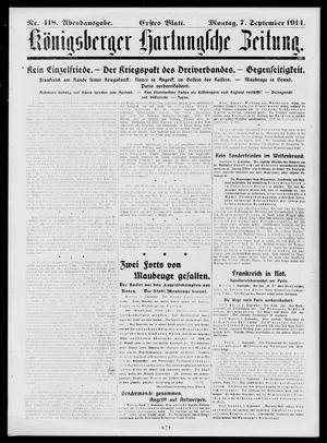 Königsberger Hartungsche Zeitung vom 07.09.1914