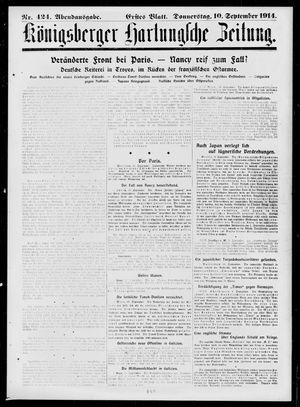 Königsberger Hartungsche Zeitung vom 10.09.1914