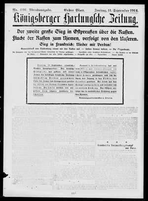 Königsberger Hartungsche Zeitung vom 11.09.1914