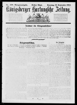 Königsberger Hartungsche Zeitung vom 13.09.1914