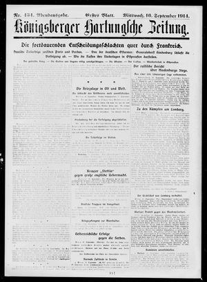 Königsberger Hartungsche Zeitung on Sep 16, 1914