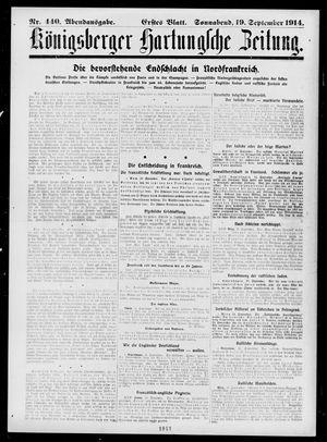 Königsberger Hartungsche Zeitung vom 19.09.1914
