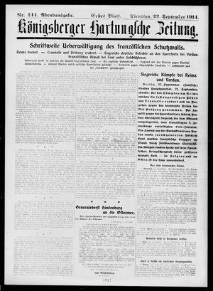 Königsberger Hartungsche Zeitung vom 22.09.1914