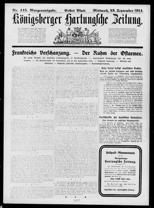 Königsberger Hartungsche Zeitung vom 23.09.1914
