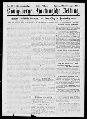 Königsberger Hartungsche Zeitung vom 25.09.1914