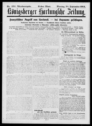 Königsberger Hartungsche Zeitung vom 28.09.1914