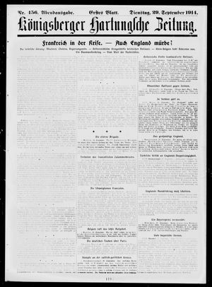 Königsberger Hartungsche Zeitung vom 29.09.1914