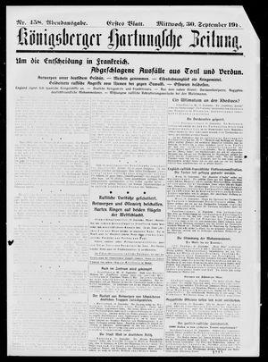 Königsberger Hartungsche Zeitung vom 30.09.1914