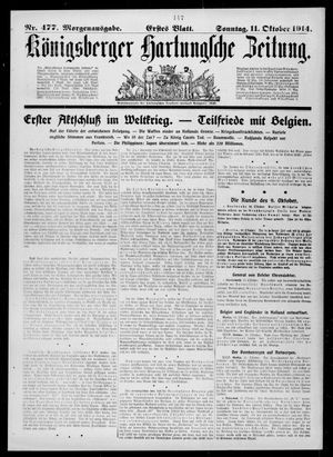 Königsberger Hartungsche Zeitung vom 11.10.1914
