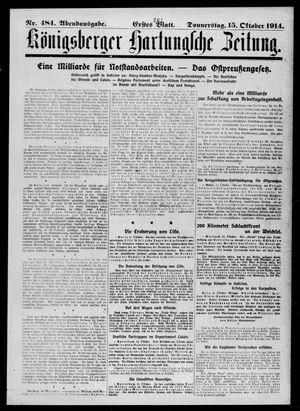Königsberger Hartungsche Zeitung vom 15.10.1914