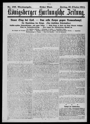 Königsberger Hartungsche Zeitung vom 16.10.1914