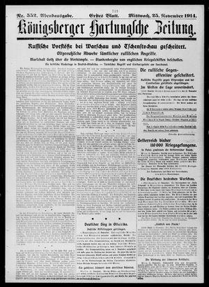 Königsberger Hartungsche Zeitung vom 25.11.1914