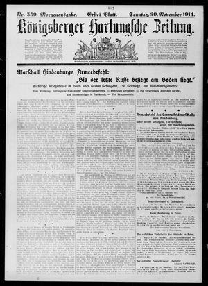 Königsberger Hartungsche Zeitung vom 29.11.1914