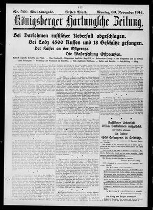 Königsberger Hartungsche Zeitung vom 30.11.1914