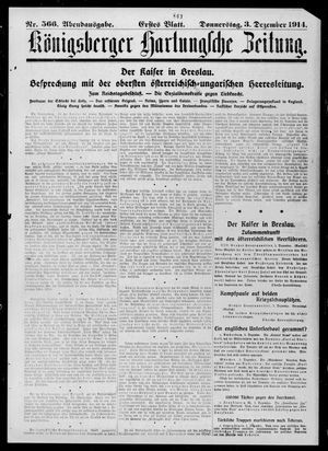 Königsberger Hartungsche Zeitung vom 03.12.1914