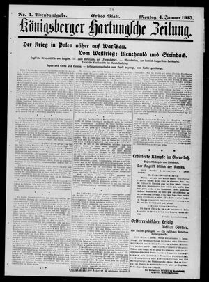 Königsberger Hartungsche Zeitung vom 04.01.1915