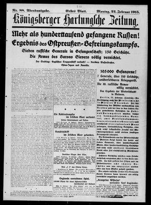Königsberger Hartungsche Zeitung vom 22.02.1915