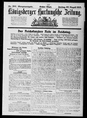 Königsberger Hartungsche Zeitung vom 20.08.1915