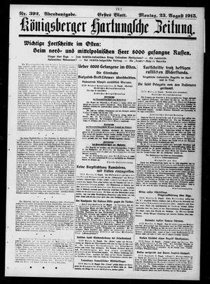 Königsberger Hartungsche Zeitung vom 23.08.1915
