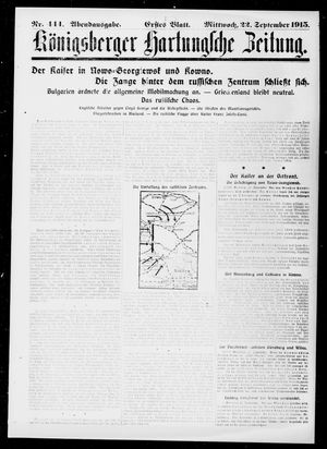 Königsberger Hartungsche Zeitung vom 22.09.1915
