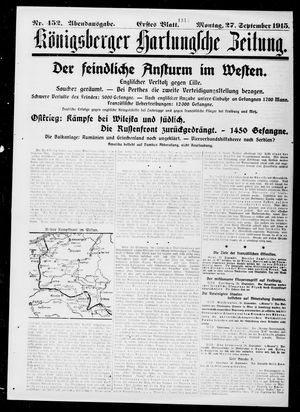 Königsberger Hartungsche Zeitung vom 27.09.1915