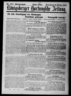 Königsberger Hartungsche Zeitung vom 09.10.1915