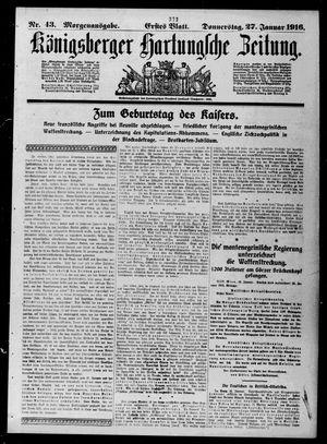 Königsberger Hartungsche Zeitung vom 27.01.1916