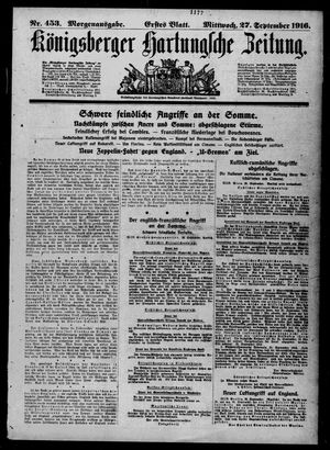 Königsberger Hartungsche Zeitung vom 27.09.1916