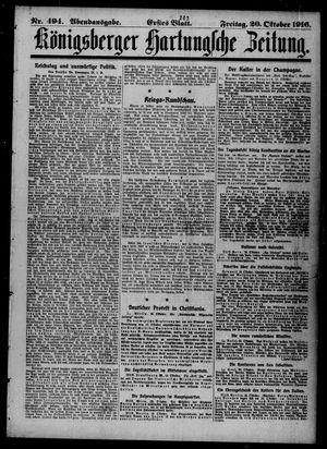 Königsberger Hartungsche Zeitung vom 20.10.1916
