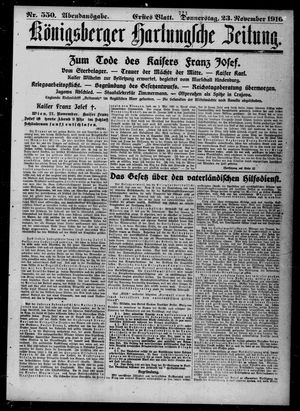 Königsberger Hartungsche Zeitung vom 23.11.1916